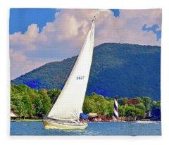 Tacking Lighthouse Sailor, Smith Mountain Lake Fleece Blanket