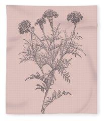 Tagetes Patula Blush Pink Flower Fleece Blanket