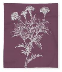 Tagetes Patula Purple Flower Fleece Blanket