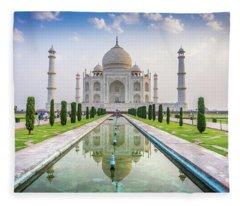 Taj Mahal Agra India Fleece Blanket