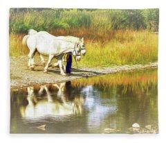 Leading The Horses To Water Fleece Blanket