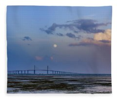 Tampa Bay Moon Rise At Sunset Fleece Blanket