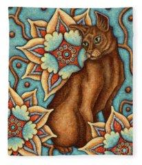 Tapestry Cat Fleece Blanket