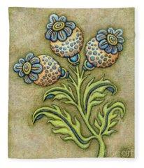 Tapestry Flower 6 Fleece Blanket