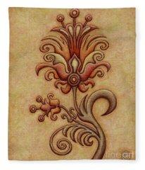 Tapestry Flower 7 Fleece Blanket