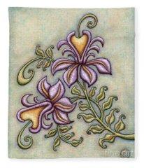 Tapestry Flower 8 Fleece Blanket