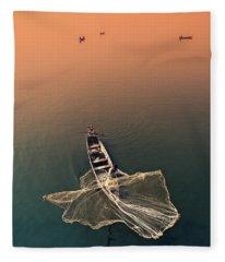 Taungthaman Lake Fleece Blanket