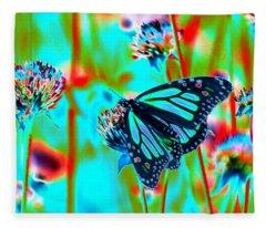 Teal Blue Monarch Butterfly Fleece Blanket