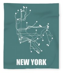 Teal New York Subway Map  Fleece Blanket