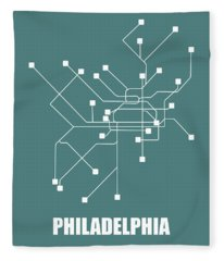 Teal Philadelphia Subway Map Fleece Blanket