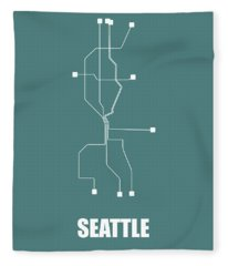 Teal Subway Map Of Seattle Fleece Blanket
