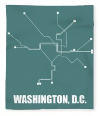 Teal Washington, D.c. Subway Map Fleece Blanket