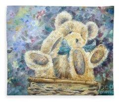 Teddy Bear In Basket Fleece Blanket