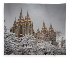 Temple In The Snow Fleece Blanket