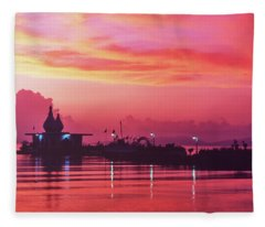 Temple On The Sea Fleece Blanket