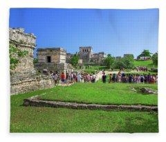 Temples Of Tulum Fleece Blanket