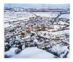 Tregaron In The Snow, From The Air Fleece Blanket