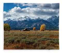 Tetons And Mormon Row Fleece Blanket