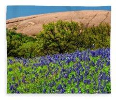 Texas Bluebonnets And Enchanted Rock 2016 Fleece Blanket