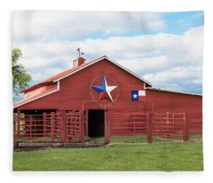 Texas Red Barn Fleece Blanket