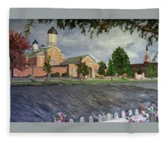 Thank Thee For The Church And The Temple  Vernal Utah Temple Fleece Blanket