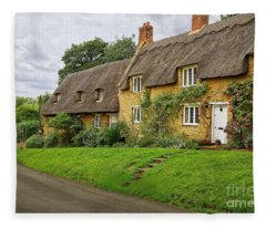 Thatched Cottages In Northamptonshire Fleece Blanket