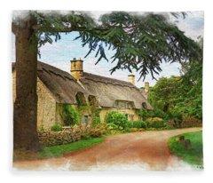 Thatched Roof Lane Fleece Blanket