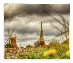 Fleece Blanket featuring the photograph Thaxted Windmill And Church by Chris Cousins