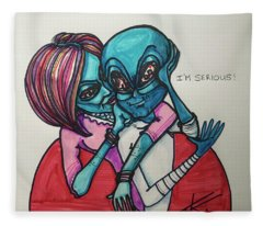 The Alien Is Serious Fleece Blanket