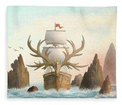 The Antlered Ship Fleece Blanket