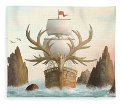 The Antlered Ship Fleece Blanket