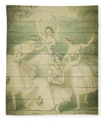 The Ballet Dancers Shabby Chic Vintage Style Portrait Fleece Blanket