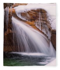 The Basin, Close Up In A Winter Storm Fleece Blanket