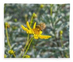 The Bee The Flower Fleece Blanket