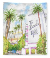 The Beverly Hills Hotel In Sunset Blvd., Beverly Hills, California Fleece Blanket