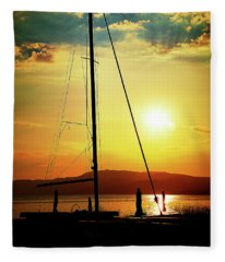 the Boat and the Sky Fleece Blanket