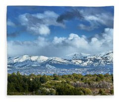 The City Of Bariloche And Landscape Of Snowy Mountains In The Argentine Patagonia Fleece Blanket
