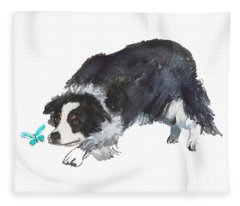 The Collie And Blue Butterfly Fleece Blanket
