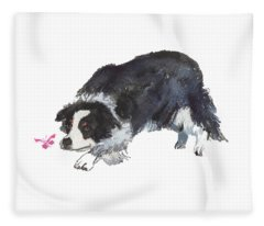 The Collie And Pink Butterfly Fleece Blanket