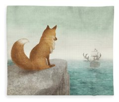 The Day The Antlered Ship Arrived Fleece Blanket