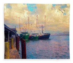 The Docks At Cape May Fleece Blanket