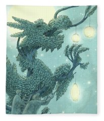 The Dragon Tree - Night Fleece Blanket
