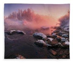 The Fragment Of Frosty Morning Fleece Blanket