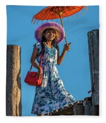 The Girl On The Bridge Fleece Blanket