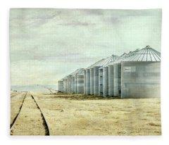 The Grain Bins At Taber Fleece Blanket
