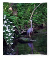 The Great Blue Heron - Impressionism Fleece Blanket