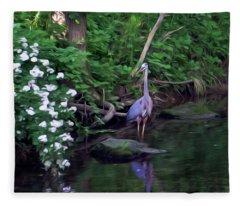 The Great Blue Heron - Impressionism Fleece Blanket