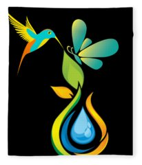 The Kissing Flower And The Butterfly On Flower Bud Fleece Blanket
