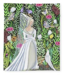 The Lady Vanity Takes A Break From Mirroring To Dream Of An Unusual Garden  Fleece Blanket