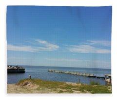 The Lighthouse Biloxi Ms Fleece Blanket